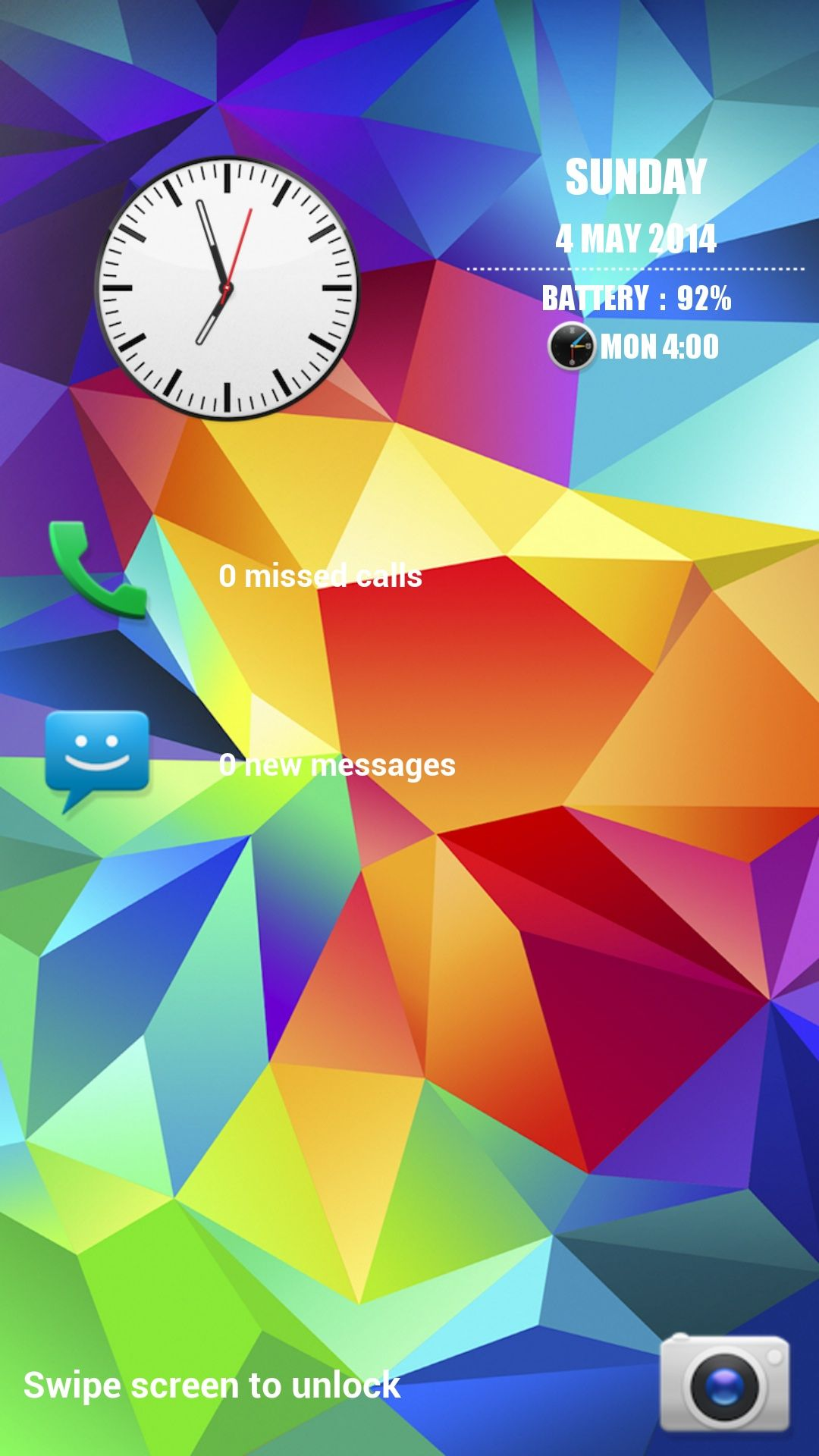 Galaxy S5 Analog Clock Screen Lock