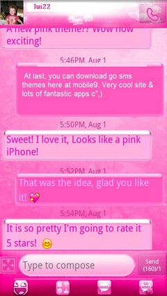 GO SMS IphonePink theme