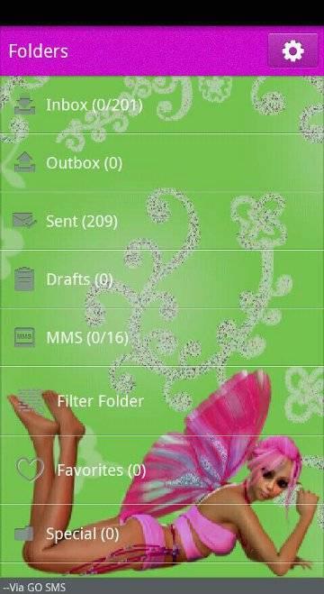 Pink Fairy Aryana Go SMS Theme