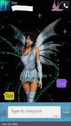 Blue Fairy Dust Go SMS Theme
