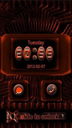go locker orange tech theme