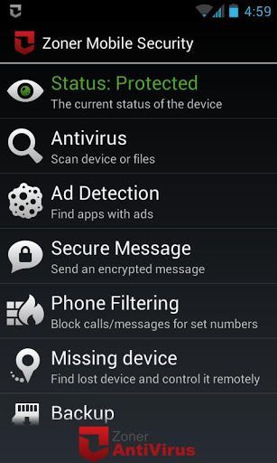 برنامج Zoner Mobile Security v1.2.0
