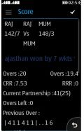 Cricket Score Card