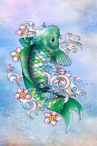 Emerald Koi Fish Wallpaper Download To Your Mobile From Phoneky