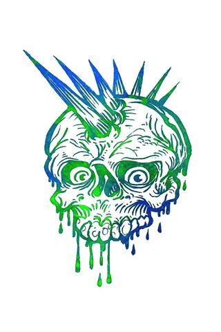 Blue Green Skull