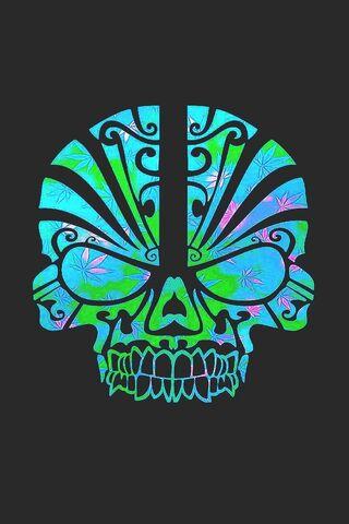 Crâne bleu vert 3