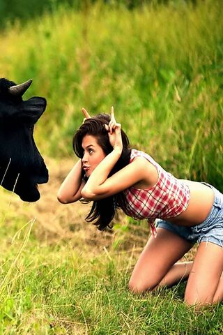 Girl Vs Cow