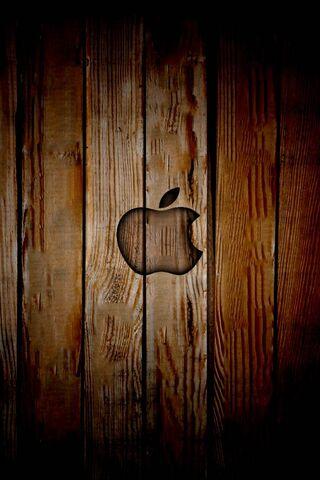 Apple Logo Over Wood