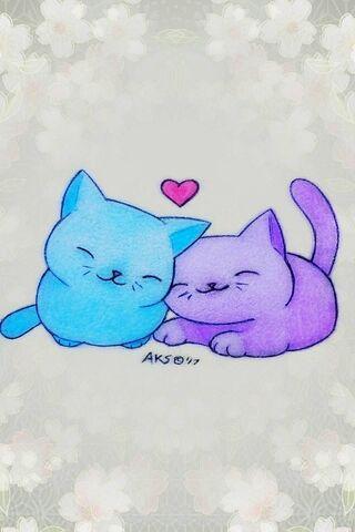 Anime Cats Love