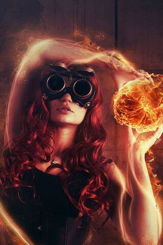 Cool Fire Girl Wallpaper Download To Your Mobile From Phoneky