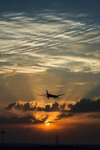 Sunset and Plane